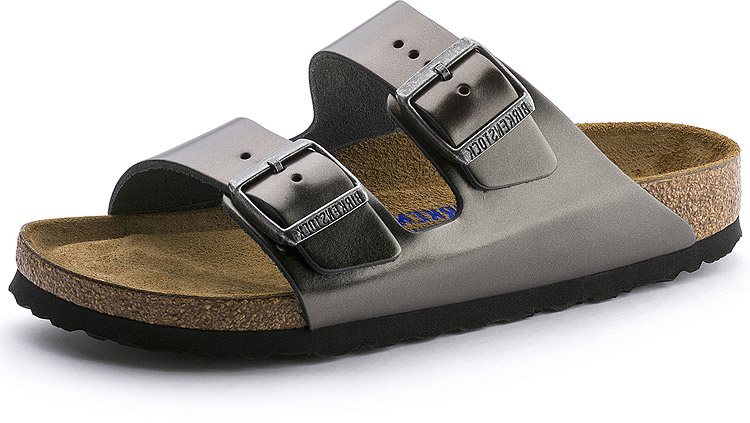 Arizona Soft Footbed Metallic Anthracite Leather Narrow Width