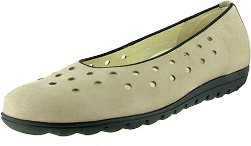 Hadya Perforated Ballet Beige Nubuck