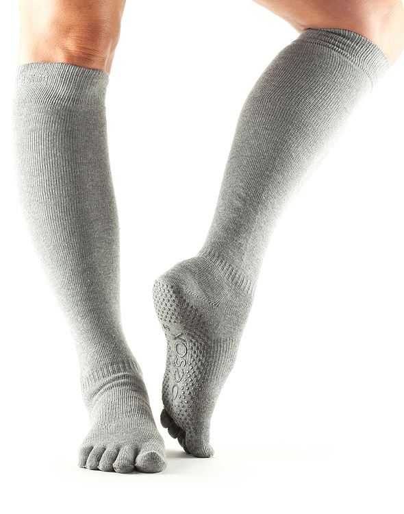 Grip Full Toe Knee High Scrunch Heather Grey