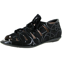 Edyta Black Anchor Ropes Print Suede