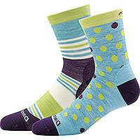 Kid's Dot and Stripe Micro Crew Light Aqua