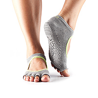 Grip Half Toe Bella Heather Grey/Limeaid