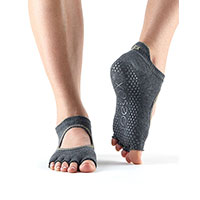 Grip Half Toe Bellarina Charcoal/Grey With Lime